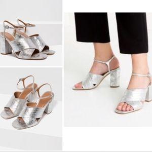 NWT Zara Silver Metallic Crossover Strap Heels